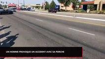 Un homme tente de faire un burn avec sa Porche et provoque un grave accident (Vidéo)