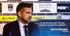 Jocelyn Gourvennec face à la presse avant d'affronter Guingamp
