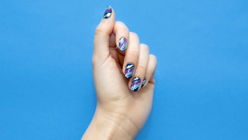 Watch this purple amethyst nail art come to life