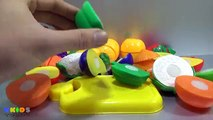 Learn Names, Colors Of Fruits And Vegetables With Toy Velcro Cutting Fruits And Vegetables.