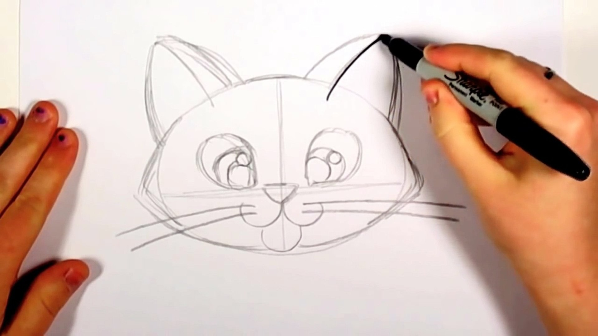 How To Draw A Cute Kitten Face Tabby Cat Face Drawing Art For Kids Cc Video Dailymotion
