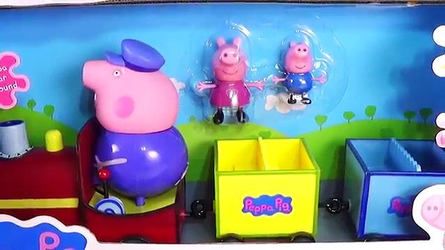 Pig George e Peppa Pig Conhecem o Trem do Vovô Pig em Português. Grandpa Pigs Train Toys