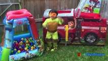 PAW PATROL Nickelodeon BALL PIT CHALLENGE Giant Paw Patrol and Thomas Tent Egg Surprise Toys Video