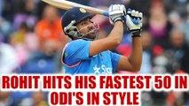 India vs Australia 3rd ODI: Rohit Sharma hits fastest 50 in ODI, completes it in 42 balls |Oneindia