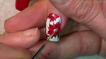 Pretty Christmas Flower Nails | DIY Red Poinsettia Nail Art Design