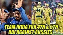 India vs Australia : Team India announced for the last two matches | Oneindia News