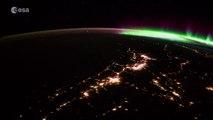 Superbes aurores boréales vues depuis l'espace