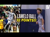 LaMelo Ball 92 POINT GAME FULL HIGHLIGHTS! 41 IN THE 4TH! | LaMelo Ball Scores 92 POINTS