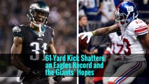 61-Yard Kick Shatters an Eagles Record and the Giants' Hopes