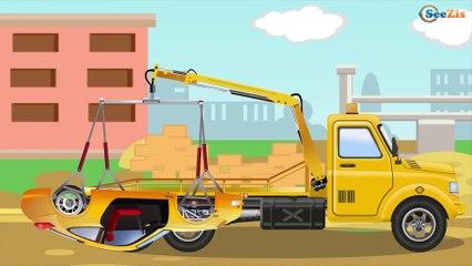 Dibujo animado - Tractor, Coche de Policía, Camión de Bomberos, Grúa - Videos para niños Parte 2
