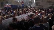 Les images du comité d'accueil anti-Macron devant la Sorbonne