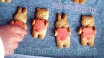 Sakura-Hugging Teddy Bear and Bunny Cookies (Tbsp Measurement Recipe) 桜抱っこくまクッキー - OCHIKERON