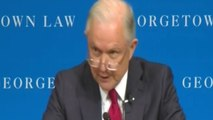 Jeff Sessions compares protesters to KKK members at Georgetown University free speech event