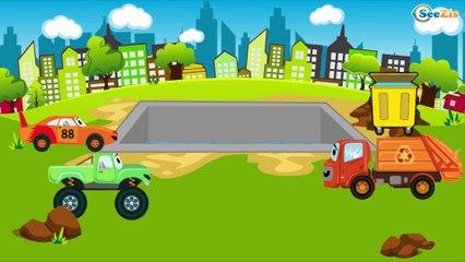El Camión de bomberos es rojo y Carros de Carreras - Dibujo animado de coches - Carritos Para Niños