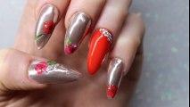 Mirror Nails Art Tutorial ! Unghii oglinda decorate cu tatuaje flori!