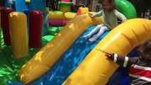 Playground Fun Play Place. Kids playing in trampoline park.