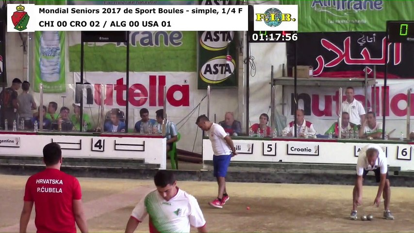 Quarts de finale du simple, Mondial Seniors, Casablanca 2017