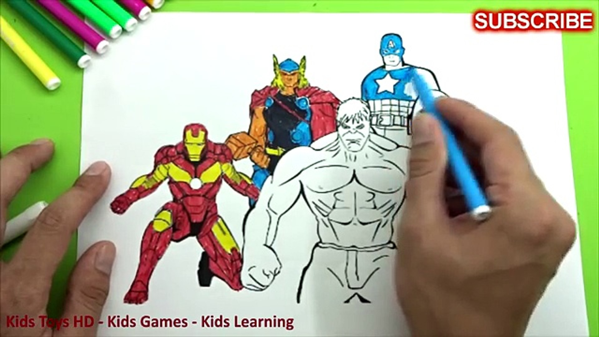Iron Man Vs Hulk Vs Captain America Vs Thor Coloring Pages For Kids Video Dailymotion