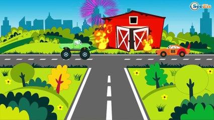 Carros de Carreras, Camión, Coche de Policía, Сamión de Bomberos - Camiones infantiles Parte 2