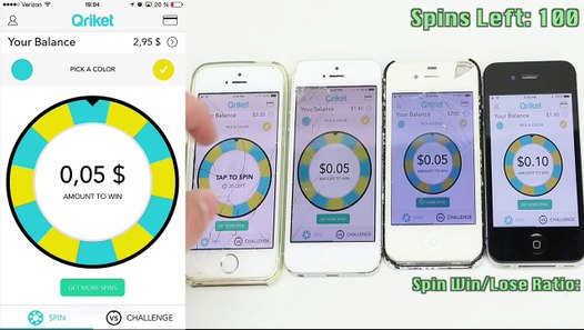 Qriket 100 Spin Test - Make Money with Your Smartphone