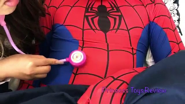 Doc McStuffins Sick Tummy Ache Checkup Gives Needle & Check up Shot Prank Princess ToysReview
