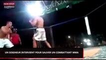 MMA : Un soigneur intervient en urgence pour sauver son combattant (Vidéo)