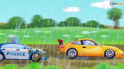 Carros infantiles - Coche de Policía, Camión de Bomberos - Coches para niños - Caricaturas de carros