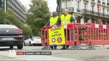 Journée sans voitures à Paris : les passants et les cyclistes profitent des rues désertes