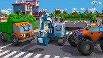 Caminhão curioso sem FREIO! Trabalhadores construções - Desenhos animados crianças