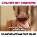 Elle s'arrache les sourcils en retirant son masque d'Halloween... Oups, FAIL