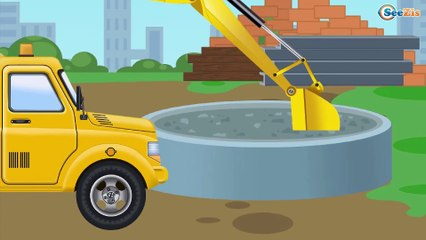 El Tractor es Amarillo y El Camión infantiles - La zona de construcción - Carritos Para Niños