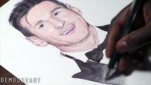 Messi Pen Drawing - Ballon dOr new Winner - DeMoose Art