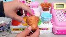 Ice Cream Shop Market Cash Register Learn Colors Tayo The Little Bus Surprise Eggs Play Doh Toys