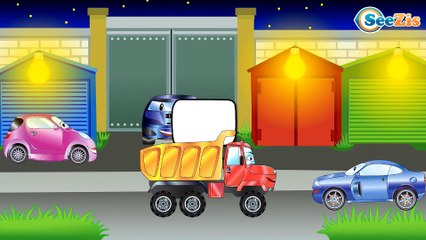 The Green Monster Truck with FRIENDS - The Big Race in the City of Cars Cartoons for Children