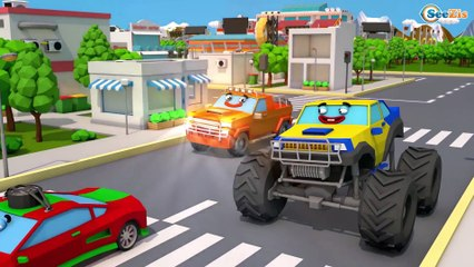 The Yellow Truck & Giant Excavator - Construction Vehicles 3D Kids Cartoon Cars & Trucks Stories
