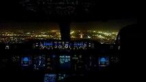 Emirates Airbus A380 Night Landing in Dubai International Airport - Cockpit Jumpseat View