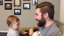 Apparemment cette petite fille n'aime pas son papa sans barbe !