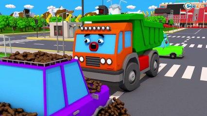Caminhão para Crianças Apuros na Estrada Caminhões de Construção Pequeno Carro Desenho