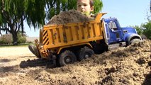Bruder Construction Vehicles   Digging with Cute Dog   Burying Sister in the Dirt!