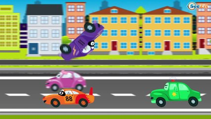 The Police Car & Racing Car Pursuit - The Big Race in the City of Cars Cartoons for Children