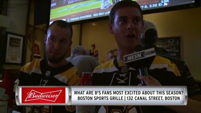 Bruins Fans Share Some Buds Before Home Opener At Boston Sports Grille