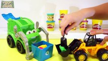 Garbage Truck, Tractor, Wheel Loader, Forklift Play Doh - Learning Trucks for Toddlers and Kids