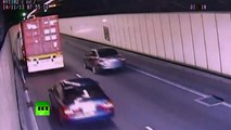 Video: Truck trailer trashed in Sydney tunnel roof crash