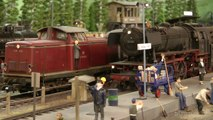 Steam locomotives on an amazing model railroad layout in scale 1/32
