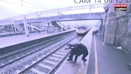 Une femme empêche de justesse un homme de sauter sous un train (Vidéo)
