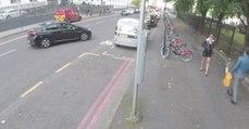Homem distraí-se na rua com mulher de saia e salto alto e acaba por passar vergonha...