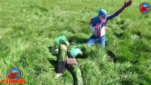 Freaky Reckless SPIDERMAN Crushes CAR! Run Over Crushed Truck Wheels w/ Spiderman, Hulk in Real Life