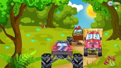 El Camión de bomberos es Rojo y El Coche de Policía infantiles - Caricatura de Carritos Para Niños