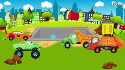 El Tractor con El Camión y muchos más - Dibujo animado de coches   La zona de construcción
