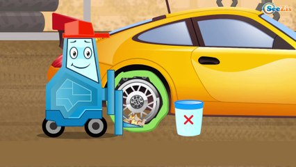 The Yellow Tow Truck and Race Cars & Sports Car | Service & Emergency Vehicles Cartoons for children